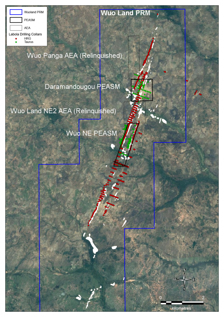 Google Earth with Artisanal Workings and Previous Explorer Drill Collars Highlighted
