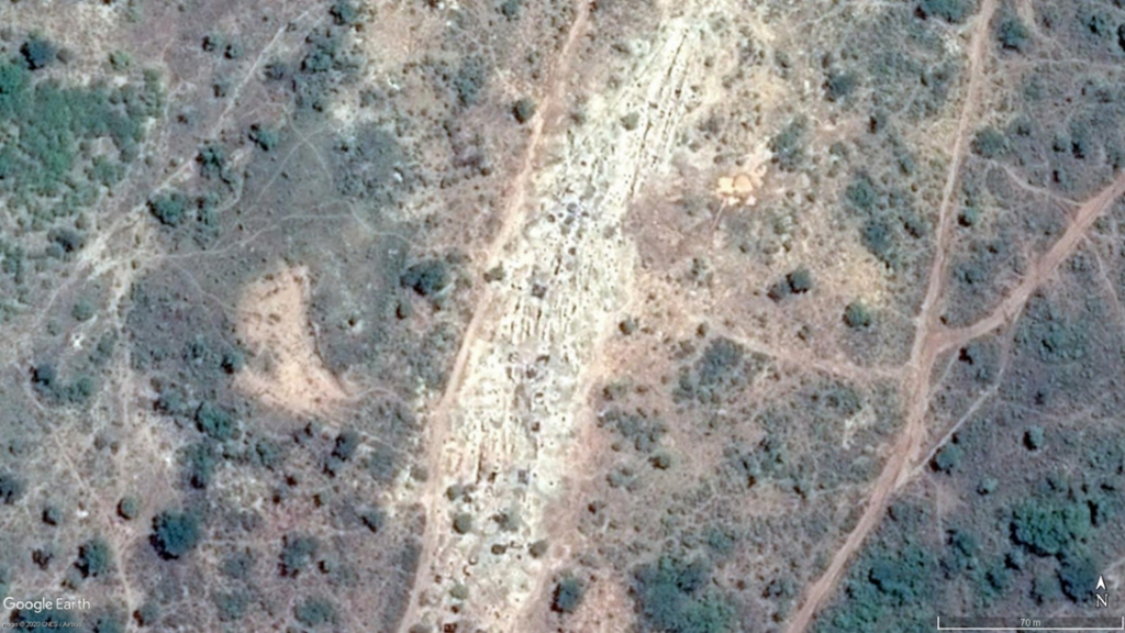 Google Earth showing Sheeted Quartz Veins Mined by Artisanal Miners