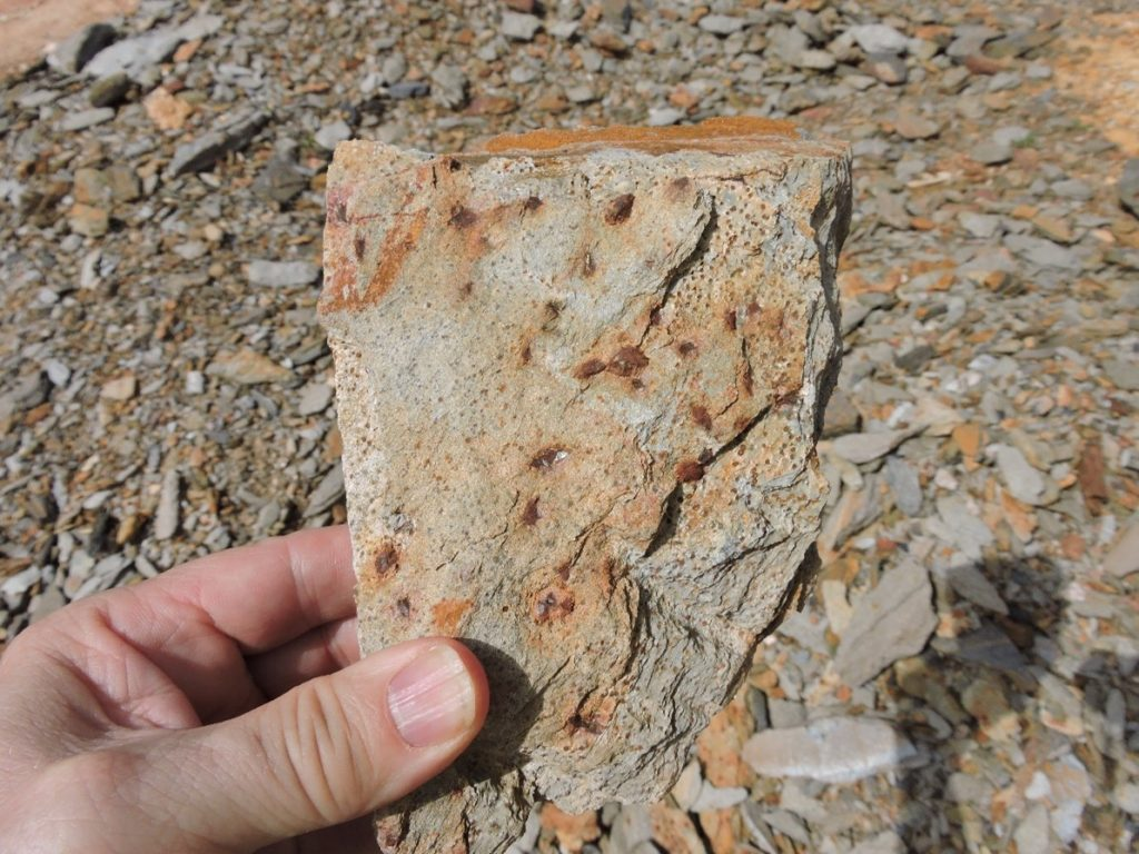 Pyrite and Arsenopyrite in Metasediment Host Rock from Artisanal Mining Dumps