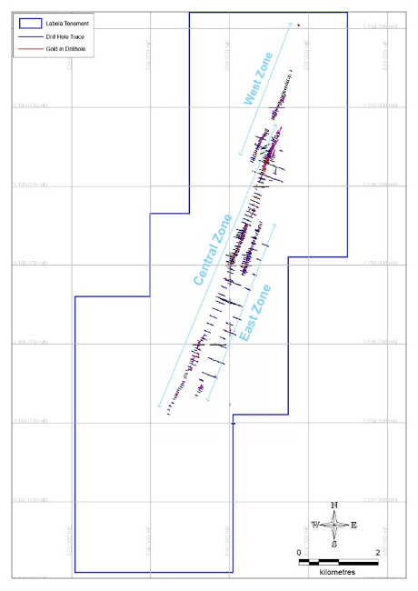 Figure 8- Exploratory Drill Sites showing Gold Mineralisation